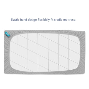 "Cradle Mattress Pad Cover for 36"" × 18"" Standard Cradle Mattress, Ultra Soft Bamboo Terry Surface and Extra Waterproof Layer, 2 Pack, Washer & Dryer, Grey"
