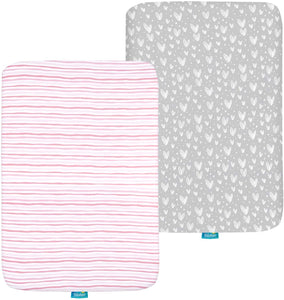Pack n Play Fitted Sheet, 100% Jersey Cotton, Grey and Pink, 2 Pack - Biloban Online Store