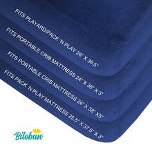 Load image into Gallery viewer, Biloban Waterproof Pack N Play Fitted Sheet - Ultra Soft Cotton, Navy Blue, 2 Pack (for Mini Crib 39''x27'') - Biloban Online Store