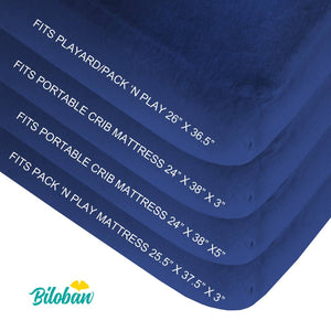 Biloban Waterproof Pack N Play Fitted Sheet - Ultra Soft Cotton, Navy Blue, 2 Pack (for Mini Crib 39''x27'') - Biloban Online Store