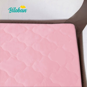 "Biloban Waterproof Pack N Play Mattress Pad/ Protector, Ultra Soft Microfiber - Pink (for Mini Crib 39""x27"") - Biloban Online Store"