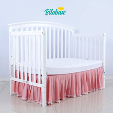 Load image into Gallery viewer, Biloban Pink Crib Skirt Pleated With White Lovely Pompoms, Dust Ruffle