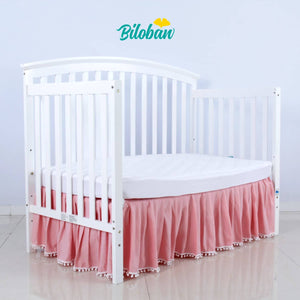 Biloban Pink Crib Skirt Pleated With White Lovely Pompoms, Dust Ruffle