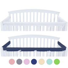 Load image into Gallery viewer, 3 Pieces Crib Rail Cover- Protector Safe Teething Guard Wrap ,Navy& White - Biloban Online Store
