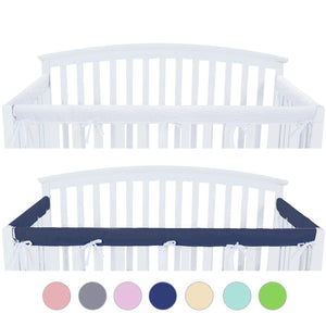 3 Pieces Crib Rail Cover- Protector Safe Teething Guard Wrap ,Navy& White - Biloban Online Store