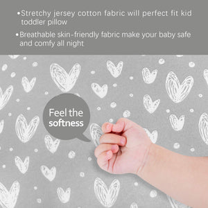 Toddler Pillowcase- 2 Pack, Ultra Soft 100% Jersey Cotton, Envelope Style, Heart Print, Gray - Biloban Online Store