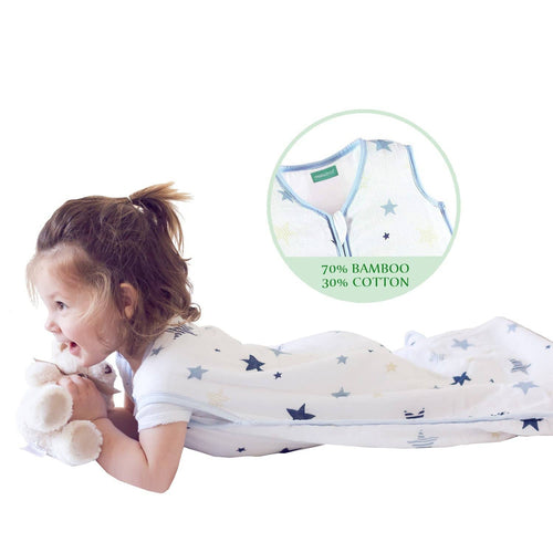 Biloban Cotton & Bamboo Muslin Sleeping Bag - Baby Wearable Blankets & Sleep Sack, Star, 0.5 TOG - Biloban Online Store