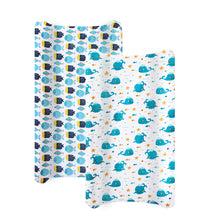 Load image into Gallery viewer, Changing Pad Cover, 100% Cotton Jersey Knit Soft Changing Pad Cover, 2 Pack, Whale Print - Biloban Online Store