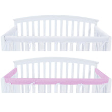 Load image into Gallery viewer, 3 Pieces Crib Rail Cover- Protector Safe Teething Guard Wrap , Lavender & White - Biloban Online Store