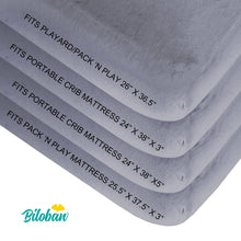 Load image into Gallery viewer, Biloban Pack N Play Fitted Sheet - Ultra Soft Microfiber, Grey & White, 2 Pack (for Mini Crib 39''x27'') - Biloban Online Store