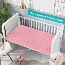 "Load image into Gallery viewer, Pack n Play Sheet Quilted 2 Pack, 39"" x 27"" Waterproof Mini Crib Mattress Pad Protector, Premium Playard/Playpen Mattress Sheet Cover, Pink - Biloban Online Store"