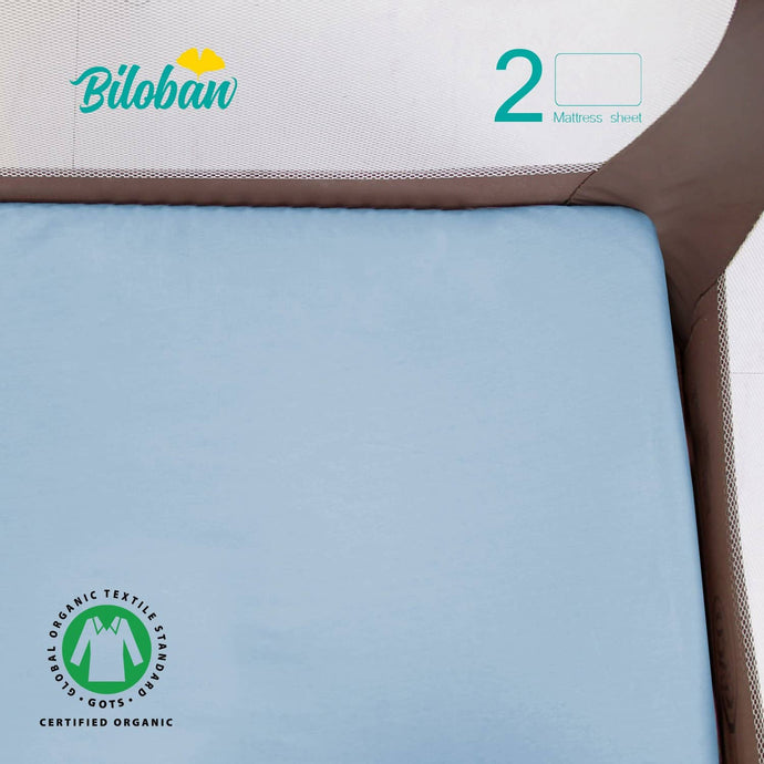 Biloban Pack N Play Waterproof Sheet 100% Organic Cotton, 2 Pack Portable Mini Crib Sheets
