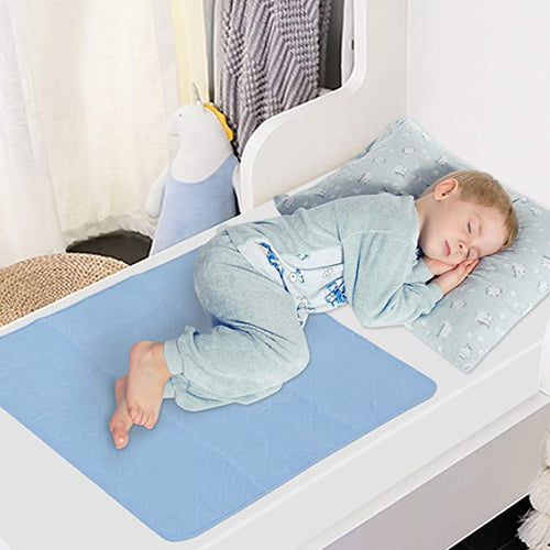 Waterproof Bed Mat with Non-Slip Back - White & Blue, 2 Pack (34