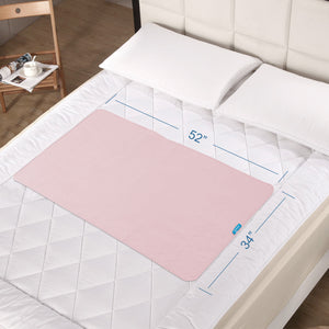 Reusable Washable Bed Pads for Incontinence, Non-Slip, 52'' x 34'', Pink - Biloban Online Store