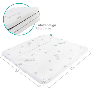 "Square Playard/Playpen Mattress Topper, 36"" x 36"", Waterproof & Non-Slip Cover, Trifold - Biloban Online Store"