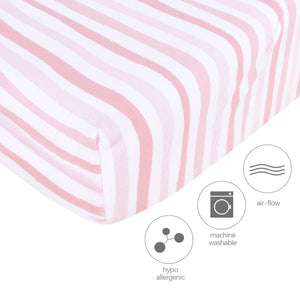 Pack n Play Fitted Sheets - 2 Pack Pink Print, Jersey Cotton (for Mini Crib 39''x27'') - Biloban Online Store