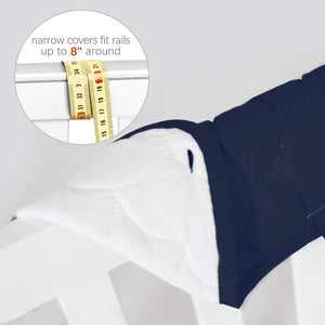 3 Pieces Quilted Crib Rail Cover- Protector Safe Teething Guard Wrap, Navy& White - Biloban Online Store