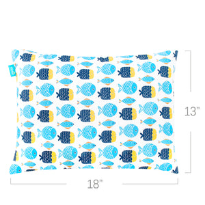 "Toddler Pillow- Poly Cluster Fiber Filling, Soft Best Neck Support, 13"" x 18"", Fish Print - Biloban Online Store"