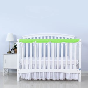 3 Pieces Crib Rail Cover- Protector Safe Teething Guard Wrap , Green & White - Biloban Online Store