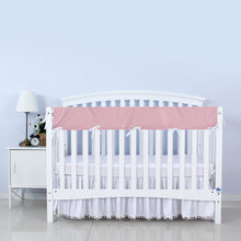 Load image into Gallery viewer, Biloban Crib Rail Cover Protector, Wide for Long Side Crib Rails - Pink & White - Biloban Online Store