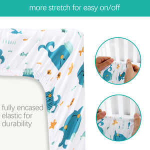 Changing Pad Cover - 2 Pack, Ultra Soft 100% Jersey Knit Cotton, Whale Print - Biloban Online Store