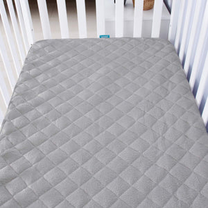 "Crib Mattress Protector - Bamboo (for Standard Crib 52"" × 28""), Grey - Biloban Online Store"