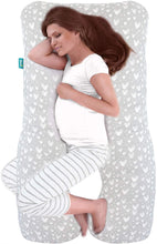 Load image into Gallery viewer, Pregnancy Full Body Pillow Cover U-Shaped, 100% cotton, Grey Hearts Print - Biloban Online Store