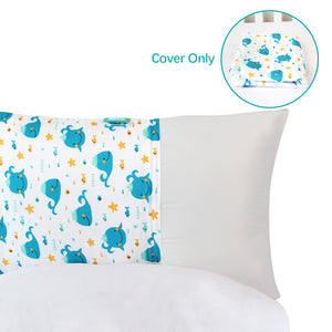 Kids Floor Pillow Cover, Cover Only, Non-Slip and Soft Floor Cushion for Boys and Girls, Whale Print - Biloban Online Store
