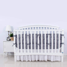 "Load image into Gallery viewer, Crib Bumper Pads - 3D Weave Print, Fit for Standard Crib (52""x28""), Grey - Biloban Online Store"
