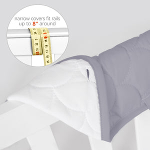 3 Pieces Quilted Crib Rail Cover- Protector Safe Teething Guard Wrap, Grey & White - Biloban Online Store
