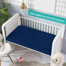 "Load image into Gallery viewer, Pack n Play Sheet Quilted 2 Pack, 39"" x 27"" Waterproof Mini Crib Mattress Pad Protector, Premium Playard/Playpen Mattress Sheet Cover, Navy Blue - Biloban Online Store"