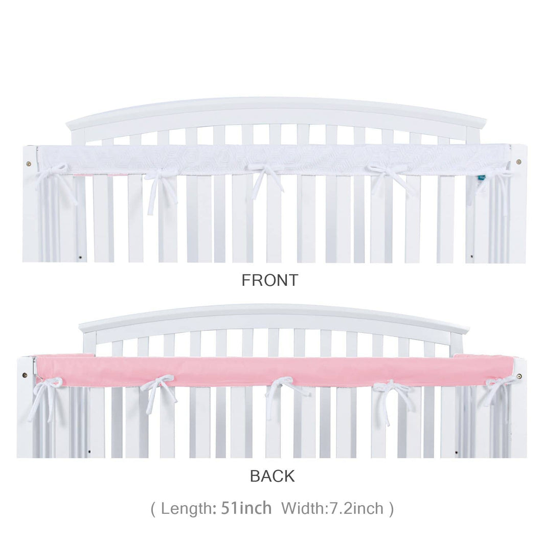 Biloban Crib Rail Cover Protector Safe Teething Guard Wrap for Long Front Crib Rails - White & Pink - Biloban Online Store