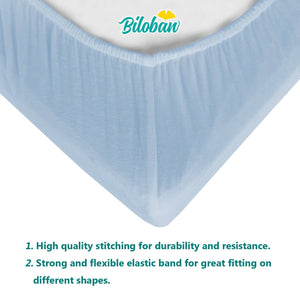 Playard Sheets -100% Organic Cotton, Light Blue, 2 Pack (for Mini Crib 39''x27'') - Biloban Online Store