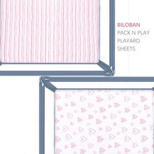 Load image into Gallery viewer, Pack n Play Fitted Sheets - 2 Pack Pink Print, Jersey Cotton (for Mini Crib 39''x27'') - Biloban Online Store