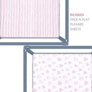 Pack n Play Fitted Sheets - 2 Pack, Jersey Cotton (for Mini Crib 39''x27'') - Biloban Online Store