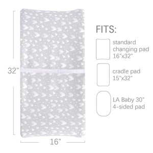 Changing Pad Cover - 2 Pack Gray&Pink, Ultra Soft 100% Jersey Knit Cotton, Heart Print - Biloban Online Store