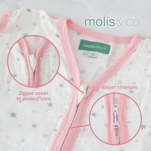 Baby Sleep Bag or Sack 6-12 Months.100% Cotton, Pink Star - Biloban Online Store