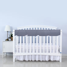 Load image into Gallery viewer, Biloban Crib Rail Cover Protector, Wide for Long Side Crib Rails - Grey & White - Biloban Online Store
