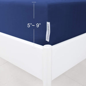 Box Spring Cover with Smooth and Elastic Woven Material, Alternates for Bed Skirt, Wrinkle & Fading Resistant, Washable, Dustproof, Navy - Biloban Online Store