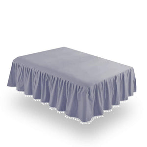 Biloban Grey Crib Skirt Pleated with Lovely Pompoms, Bedding Dust Ruffle - Biloban Online Store