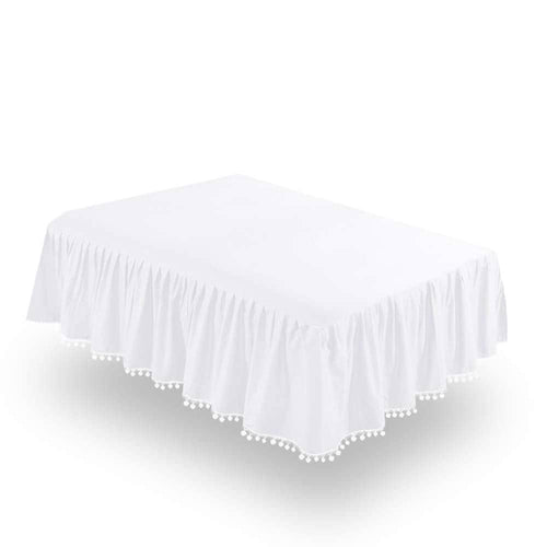 Biloban White Crib Skirt Pleated with Lovely Pompoms, Bedding Dust Ruffle - Biloban Online Store