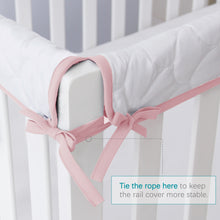 Load image into Gallery viewer, 3 Pieces Quilted Crib Rail Cover- Protector Safe Teething Guard Wrap, Pink & White - Biloban Online Store
