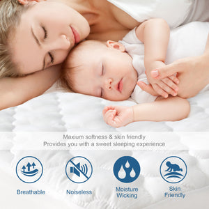 "Waterproof Mattress Protector, Breathable & Noiseless ,Quilted Fitted with Deep Pocket Strethes up to 18"" Depth - Biloban Online Store"