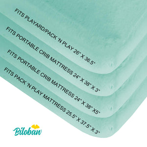 Mini Crib Sheets Fitted, 2 Pack Portable Playard Pack N Play Sheet, Ultra Soft Microfiber Pack and Play Sheets, White & Aqua, Preshrunk - Biloban Online Store