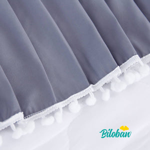Biloban Grey Crib Skirt Pleated with Lovely Pompoms, Bedding Dust Ruffle