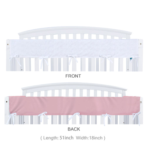 Biloban Crib Rail Cover Protector, Wide for Long Side Crib Rails - Pink & White - Biloban Online Store