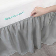 Load image into Gallery viewer, Grey Crib Skirt Four Fabric Sides Elastic Wrap Around Dust Ruffled Solid Bed Skirts Easy On/Easy Off, Bedding Dust Ruffle for Baby Girls and Baby Boys, Fit All Standard