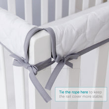 Load image into Gallery viewer, 3 Pieces Quilted Crib Rail Cover- Protector Safe Teething Guard Wrap, Grey & White - Biloban Online Store