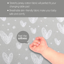 Load image into Gallery viewer, Changing Pad Cover - 2 Pack Gray, Ultra Soft 100% Jersey Knit Cotton, Heart Print - Biloban Online Store