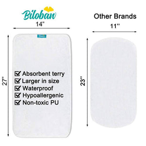 Biloban Waterproof Washable Cotton Terry Changing Changing Pad Liners (5 Pack)